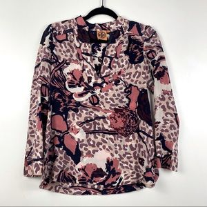 Tory Burch Silk Rose Leopard Floral Tunic Blouse 0